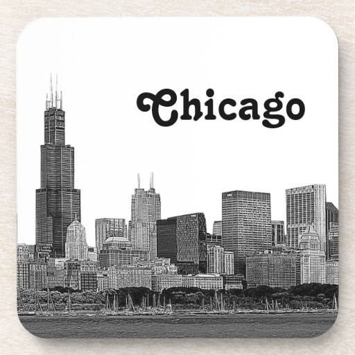 シカゴ|スカイライン|エッチングされる ドリンクコースター