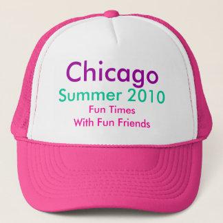 シカゴ、夏2010年、帽子のショッキングピンクまたは白いTH2 キャップ
