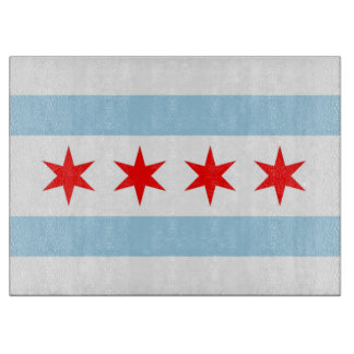 シカゴ、米国の旗を持つガラスまな板 カッティングボード