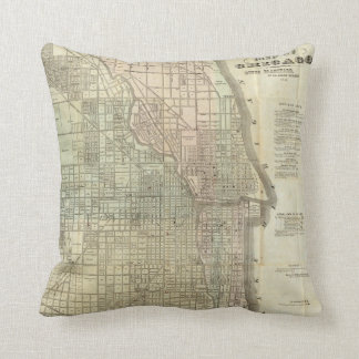 シカゴ(1857年)のヴィンテージの地図 クッション