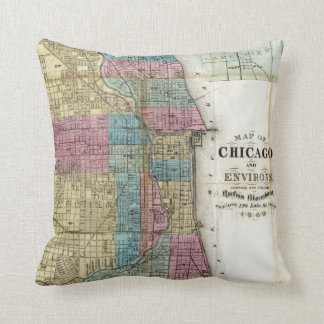 シカゴ(1869年)のヴィンテージの地図 クッション