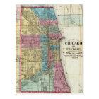 シカゴ(1869年)のヴィンテージの地図 ポストカード