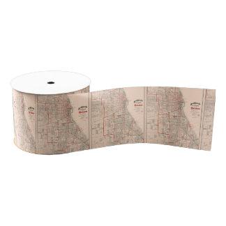 シカゴ- 1893年のヴィンテージの古い地図 グログランリボン