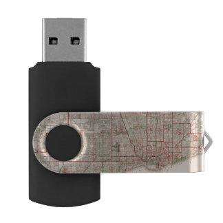 シカゴ- 1893年のヴィンテージの古い地図 USBフラッシュドライブ