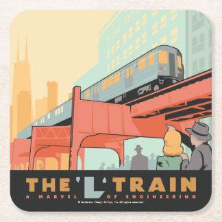 シカゴ、IL - 「L」列車 スクエアペーパーコースター