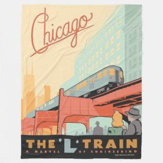 シカゴ、IL - 「L」列車 フリースブランケット