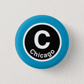 シカゴLシカゴのブルーライン 3.2CM 丸型バッジ