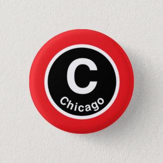 シカゴLシカゴの赤線 3.2CM 丸型バッジ