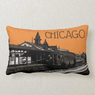 シカゴL 1950年の水彩画のセピア色の写真の地下鉄 ランバークッション