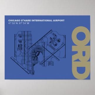 シカゴO'Hare空港(ORD)図表ポスター ポスター