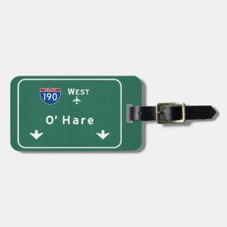 シカゴO'Hare空港I-190 W州連帯のイリノイ ラゲッジタグ