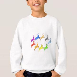 シカショー-カラフルな動物の飛行 スウェットシャツ