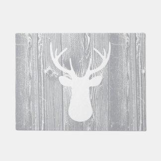 シカヘッド灰色の木製パターン玄関マット ドアマット