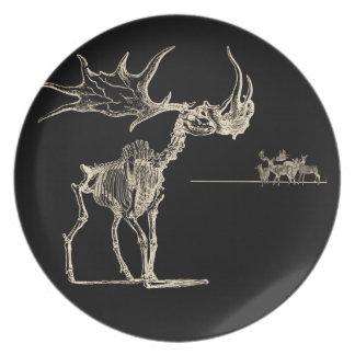 シカ動物の骨を搭載する気色悪いオオシカの骨組 プレート
