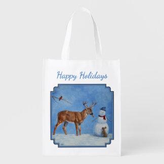 シカ及びおもしろいな雪だるまのクリスマス エコバッグ