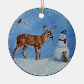 シカ及びおもしろいな雪だるまのクリスマス セラミックオーナメント