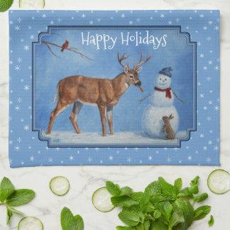 シカ及び雪だるまのクリスマスの雪片 キッチンタオル