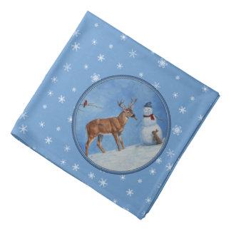 シカ及び雪だるまのクリスマスの雪片 バンダナ