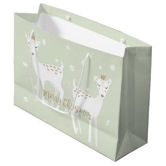 シカ-かわいいクリスマスのギフトバッグ ラージペーパーバッグ