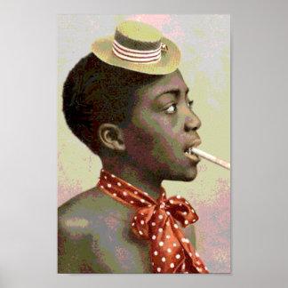 シガーを持つ黒いアメリカのヴィンテージの男の子 ポスター