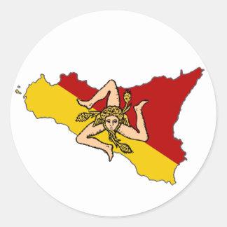 シシリーの旗のTrinacriaのステッカー ラウンドシール