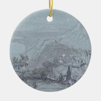 「シシリーの眺め」からのTaormina、(チョーク及びグワッシュ セラミックオーナメント