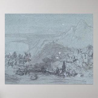 「シシリーの眺め」からのTaormina、(チョーク及びグワッシュ ポスター