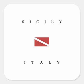 シシリーイタリアのスキューバ飛び込みの旗 スクエアシール