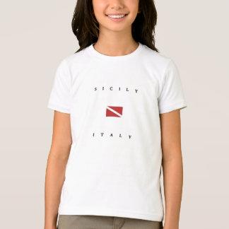 シシリーイタリアのスキューバ飛び込みの旗 Tシャツ