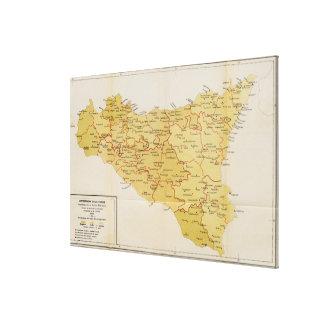 シシリーイタリア1900年のマフィアの活動の地図 キャンバスプリント