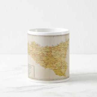 シシリーイタリア1900年のマフィアの活動の地図 コーヒーマグカップ