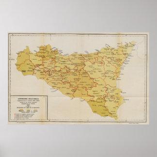 シシリーイタリア1900年のマフィアの活動の地図 ポスター
