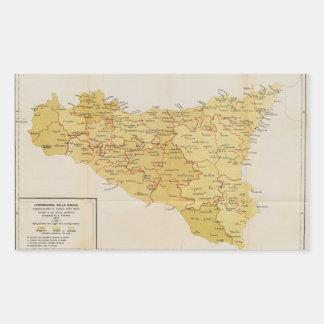 シシリーイタリア1900年のマフィアの活動の地図 長方形シール