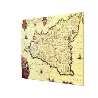 シシリーイタリア(17世紀)のヴィンテージの地図 キャンバスプリント