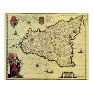 シシリーイタリア(17世紀)のヴィンテージの地図 ポスター