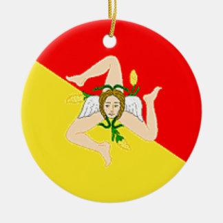 シシリー(イタリア)の旗 セラミックオーナメント