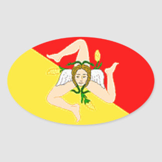 シシリー(イタリア)の旗 楕円形シール