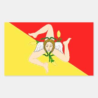シシリー(イタリア)の旗 長方形シール