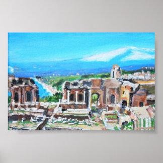 シシリー-ポスターのギリシャの劇場 ポスター