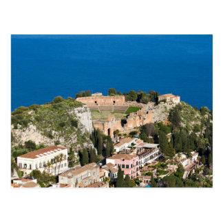 シシリー- Taorminaの郵便はがきの古代劇場 ポストカード