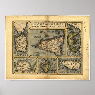 シシリーORTELIUSの地図書1570 A.D.の旧式な地図 ポスター
