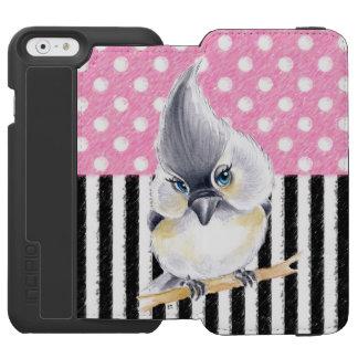 シジュウカラ科のピンクの水玉模様 INCIPIO WATSON™ iPhone 6 ウォレットケース