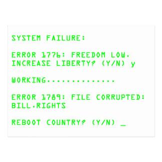 システム故障: 間違い1776年 ポストカード
