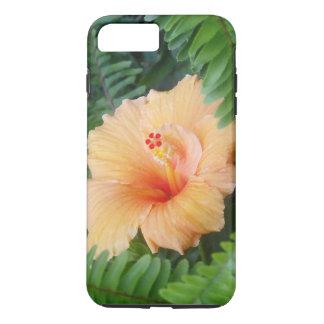 シダが付いているオレンジハイビスカスの花 iPhone 7 PLUSケース