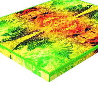 シダの葉2Gの軽いフラクタル赤くの/緑/黄色 キャンバスプリント