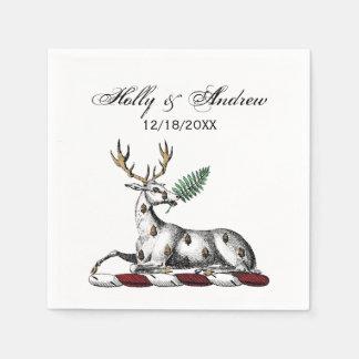 シダのHeraldic頂上の紋章を持つシカの雄鹿 スタンダードカクテルナプキン