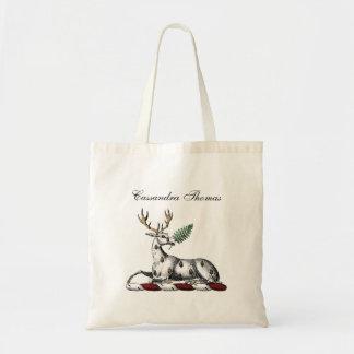 シダのHeraldic頂上の紋章を持つシカの雄鹿 トートバッグ