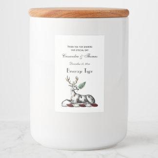 シダのHeraldic頂上の紋章を持つシカの雄鹿 フードラベル