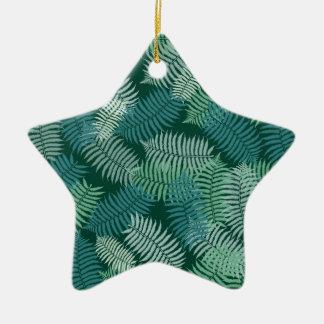 シダは深緑色のパターンを去ります セラミックオーナメント