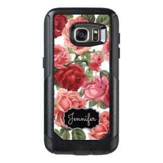 シックでエレガントなヴィンテージのピンク、赤、バラの花柄の名前 オッターボックスSamsung GALAXY S7ケース